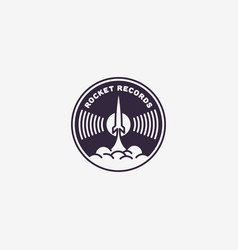 rocket records logo vector image