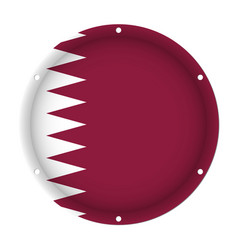 Round metallic flag of qatar with screw holes vector