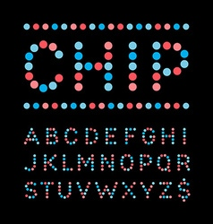 Rounded font alphabet with dots effect letters vector