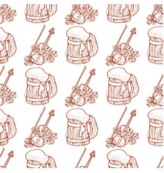 Seamless pattern with a violin and a mug of foamy vector