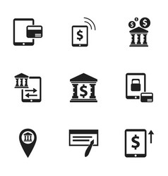set of 9 editable finance icons includes symbols vector image