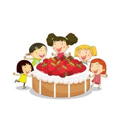 Strawberry cake kids vector