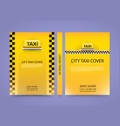 Taxi business card traffic cover a4 size paper vector