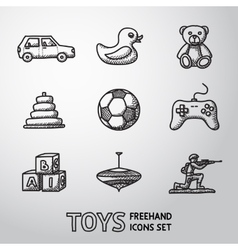 Toys hand drawn icons set with - car duck bear vector