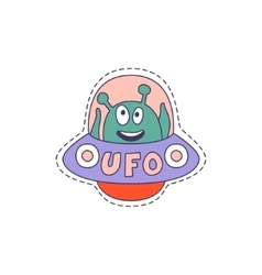 Ufo with alien bright hipster sticker vector