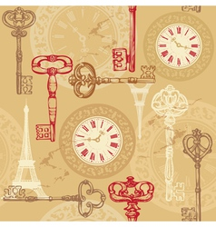 Vintage seamless pattern with clock keys and Eiffe vector image vector image