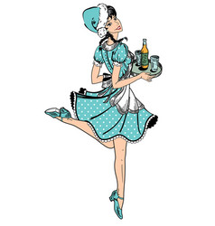 waitress in blue dotted dress in retro style vector image