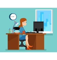 Woman working office at the desk with computer in vector image vector image