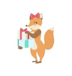 Fox cute animal character attending birthday party vector