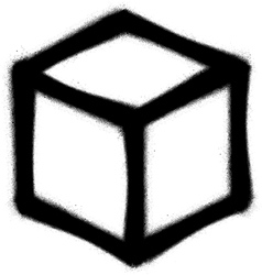Graffiti cube icon sprayed in black on white vector