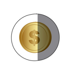 sticker colorful coin with dollar symbol vector image
