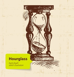 Vintage clock hourglass vector