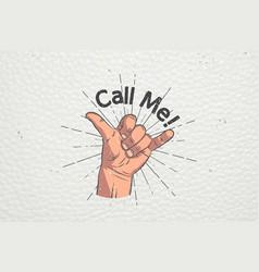 Realistic hand gesture - call me shaka brah vector