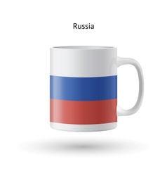 Russia flag souvenir mug on white background vector