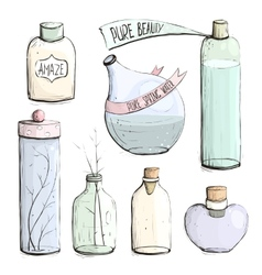 Perfume bottles and flask collection drawing vector