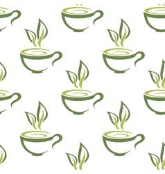 Cups of herbal tea seamless pattern vector image