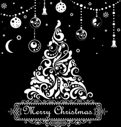 Christmas tree with swirls and floral elements vector