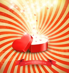 Valentines day background with an open red gift vector