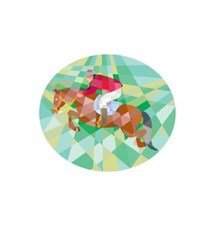 Equestrian show jumping oval low polygon vector