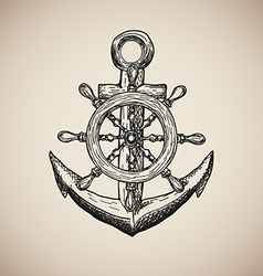 Vintage marine anchor with steering wheel isolated vector
