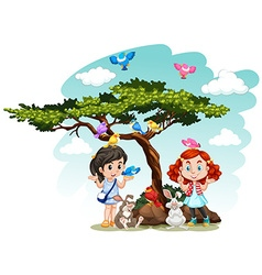 Girls standing under the tree vector