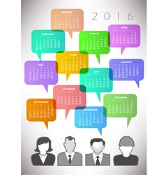 2016 speech bubble calendar vector