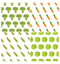 Set of vegetables seamless patterns healthy food vector