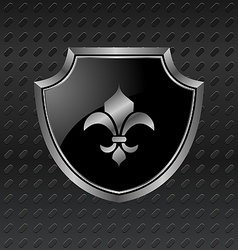 Heraldic shield on metallic background - vector