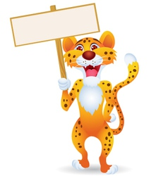 Cartoon cheetah with blank sign vector