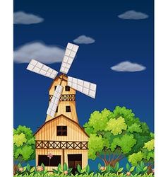 A wooden barnhouse in the middle of the forest vector