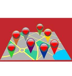 Assistance destination map pins vector