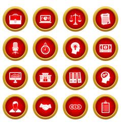 Banking icon red circle set vector