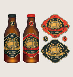 beer labels for two beer bottles vector image vector image