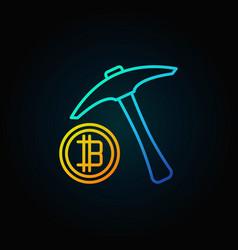 Blue pick axe with golden bitcoin icon vector