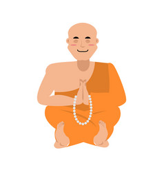 buddhist monk meditating zen and enlightenment vector image