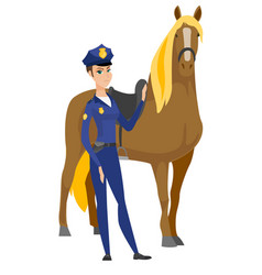 Caucasian female police officer and horse vector