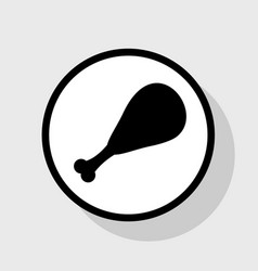 chicken leg sign flat black icon in white vector image vector image