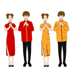 Chinese woman and man in red and gold qipao dress vector