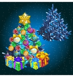Christmas tree with gifts before holiday and after vector