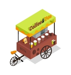 Coffee and Tea Trolley in Isometric Projection vector image vector image