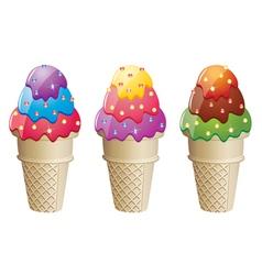 colorful icecream cones vector image vector image
