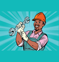 Construction worker with wrench vector