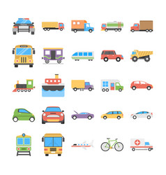 Creative flat icons set of transport vector