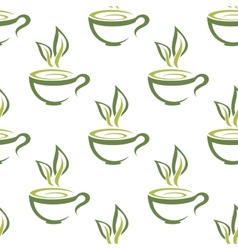Cups of herbal tea seamless pattern vector image vector image