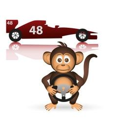Cute chimpanzee formula driver sport little monkey vector