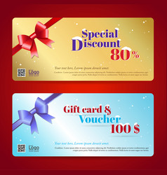 elegant discount gift card and voucher template vector image