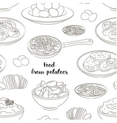 Food from potatoes pattern vector