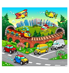 Funny vehicles in the city vector