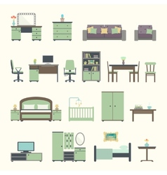 Furniture interior flat icons vector image
