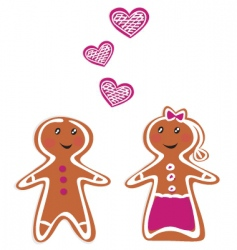 gingerbread couple vector image vector image
